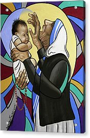 Mother Teresa, A Prayer From The Heart Acrylic Print by Anthony Falbo