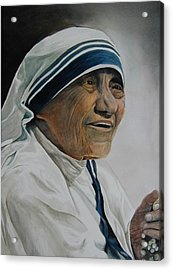 Mother Teresa Acrylic Print by Dwight Williams