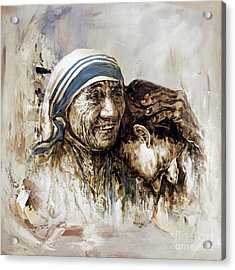 Acrylic Print featuring the painting Mother Teresa  by Gull G
