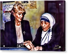 Mother Teresa In Calcutta Acrylic Print by Kathy Tarochione