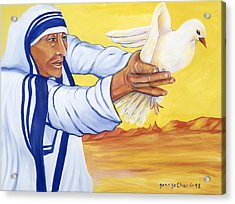Mother Teresa In New Mexico Acrylic Print by George Chacon