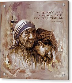 Acrylic Print featuring the painting Mother Teresa Of Calcutta  by Gull G