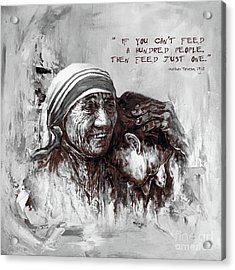 Acrylic Print featuring the painting Mother Teresa Of Calcutta Portrait  by Gull G