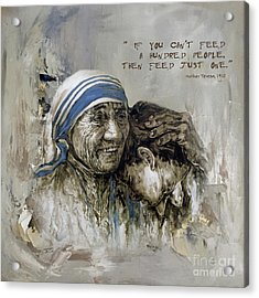 Acrylic Print featuring the painting Mother Teresa Portrait  by Gull G