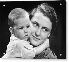 Mother With Baby Girl (9-12 Months) Posing In Studio, (b&w), Portrait Acrylic Print by George Marks