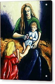 Mother With Children Acrylic Print by Helen O Hara