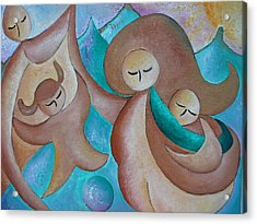 Motherhood Family Oil Painting Us Today Original By Gioia Albano Acrylic Print