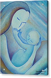 Motherhood Oil Painting Your Little Hands By Gioia Albano Acrylic Print