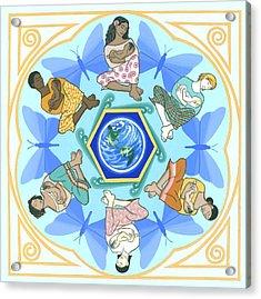 'mothering' Mandala Acrylic Print by Karen MacKenzie