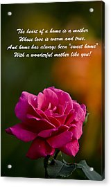 Acrylic Print featuring the photograph Mother's Day Card 2 by Michael Cummings