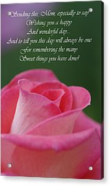 Acrylic Print featuring the photograph Mother's Day Card 3 by Michael Cummings