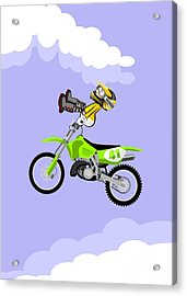 Motocross Rider Dressed In Yellow Jumping High Over The Sky With Clouds On His Green Motorbike Sitti Acrylic Print