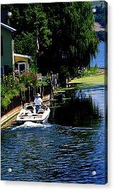 Motor Boat On Canal Acrylic Print