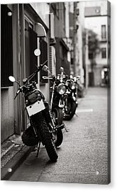 Motorbikes Parked On Street In Tokyo, Japan Acrylic Print by photo by Jason Weddington