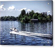 Motorboat On Saint Lawrence Seaway 1000 Islands Acrylic Print