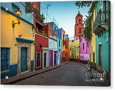 Motorcycle In Guanajuato Acrylic Print by Inge Johnsson