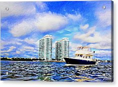 Motoring Past The Marina Grande Acrylic Print by Alice Gipson