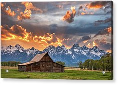 Moulton Barn Sunset Fire Acrylic Print