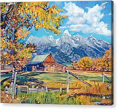 Moulton's Barn Grand Tetons Acrylic Print by David Lloyd Glover