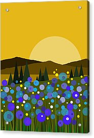 Mountain Meadow Sunrise And  Bluebells Acrylic Print