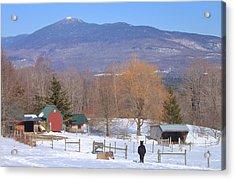 Mount Abraham And Winter Farm Green Mountains Acrylic Print by John Burk