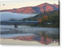 Mount Ascutney And Windsor Cornish Bridge Sunrise Fog Acrylic Print