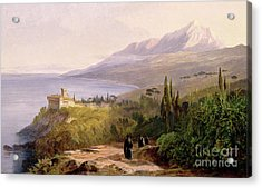 Mount Athos And The Monastery Of Stavroniketes Acrylic Print