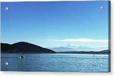 Acrylic Print featuring the photograph Mount Baker Looms by Lorraine Devon Wilke
