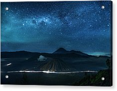 Mount Bromo Resting Under Million Stars Acrylic Print