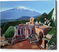 Mount Etna And Greek Theater In Taormina Sicily Acrylic Print