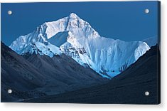 Acrylic Print featuring the photograph Mount Everest At Blue Hour, Rongbuk, 2007 by Hitendra SINKAR
