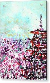 Acrylic Print featuring the painting Mount Fuji And The Chureito Pagoda In Spring by Zaira Dzhaubaeva