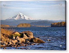 Mount Hood And The Columbia River Acrylic Print by Jim Walls PhotoArtist