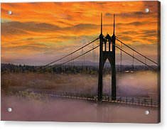 Mount Hood By St Johns Bridge During Sunrise Acrylic Print