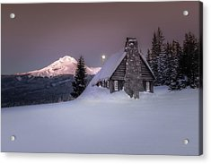 Mount Hood From The Skibowl Historic Warming Hut Acrylic Print