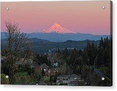 Mount Hood Over Happy Valley Oregon Acrylic Print