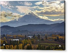 Mount Hood Over Hood River Valley In Fall Acrylic Print