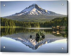 Mount Hood Reflection On Trillium Lake Acrylic Print by David Gn