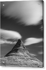 Mount Kirkjufell In Iceland Under The Sky Acrylic Print