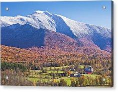 Mount Mansfield Autumn Snowfall Acrylic Print