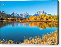 Mount Moran From The Snake River In Autumn Acrylic Print by James Udall