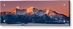 Mount Princeton Moonset At Sunrise Acrylic Print by Darren White