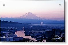 Mount Rainier Dawn Above Port Of Tacoma Acrylic Print
