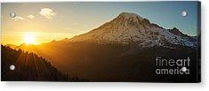 Mount Rainier Evening Light Rays Acrylic Print
