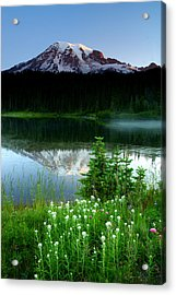 Mount Rainier Reflections Acrylic Print by Eric Foltz