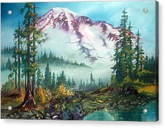 Acrylic Print featuring the painting Mount Rainier by Sherry Shipley