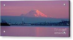 Mount Rainier Sunset Reflection Acrylic Print