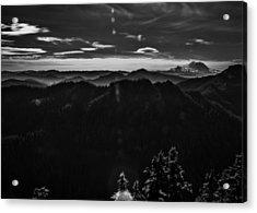 Mount Rainier With Rolling Hills Acrylic Print