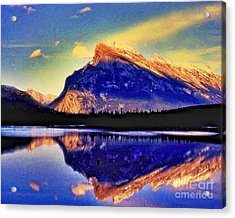 Mount Rundle Reflection Acrylic Print by Lyle  Huisken