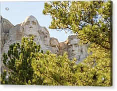 Mount Rushmore Framed With Trees 2 Acrylic Print by AMB Fine Art Photography